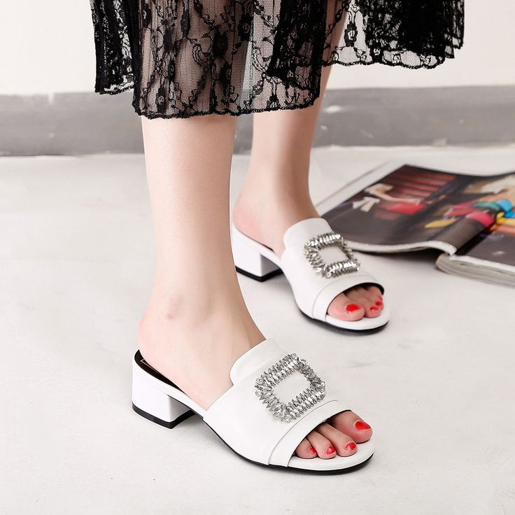2017 Brand Summer Demon Eye Crystal Genuine Leather Square High Heels (4cm) OutSide Slippers Lady Shoes Handmade Open Toe