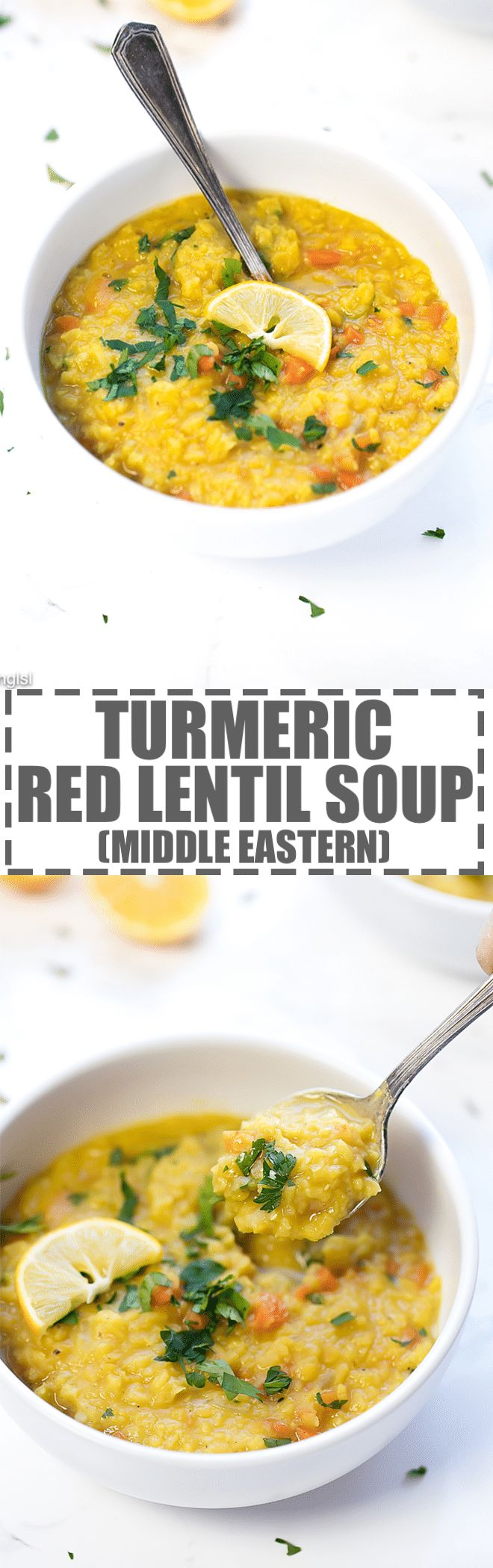 Middle Eastern Lentil Soup Recipe - just a few basic ingredients to make this delicious, flavorful and nutritious soup. Great as a side soup or a light meal. Packed with Middle Eastern flavors, due to the combination of two very distinct spices - turmeric and cumin. via @cookinglsl