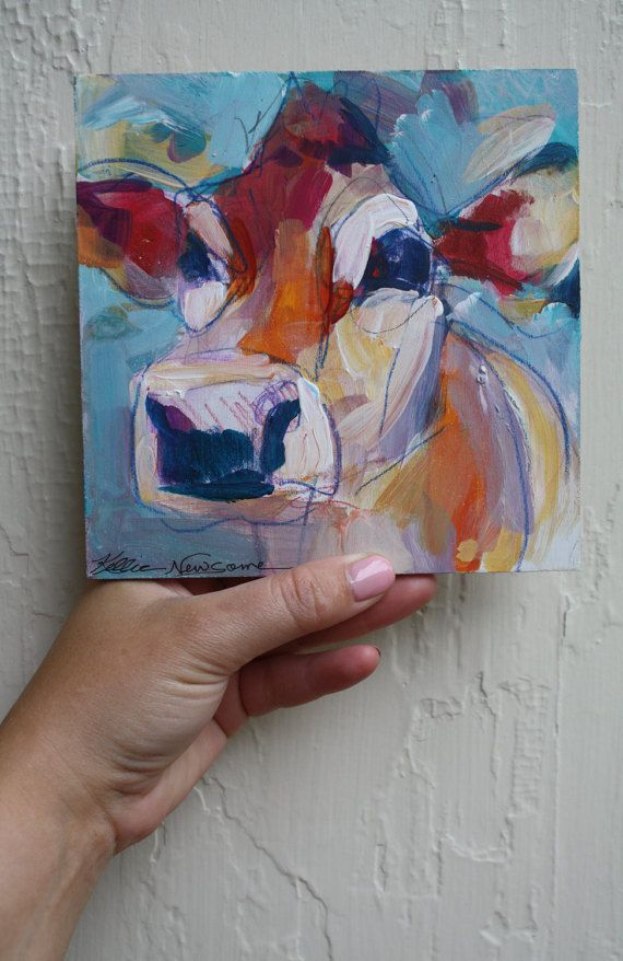 Original Painting Abstract Cow on Board 6x6 by KellieNewsome