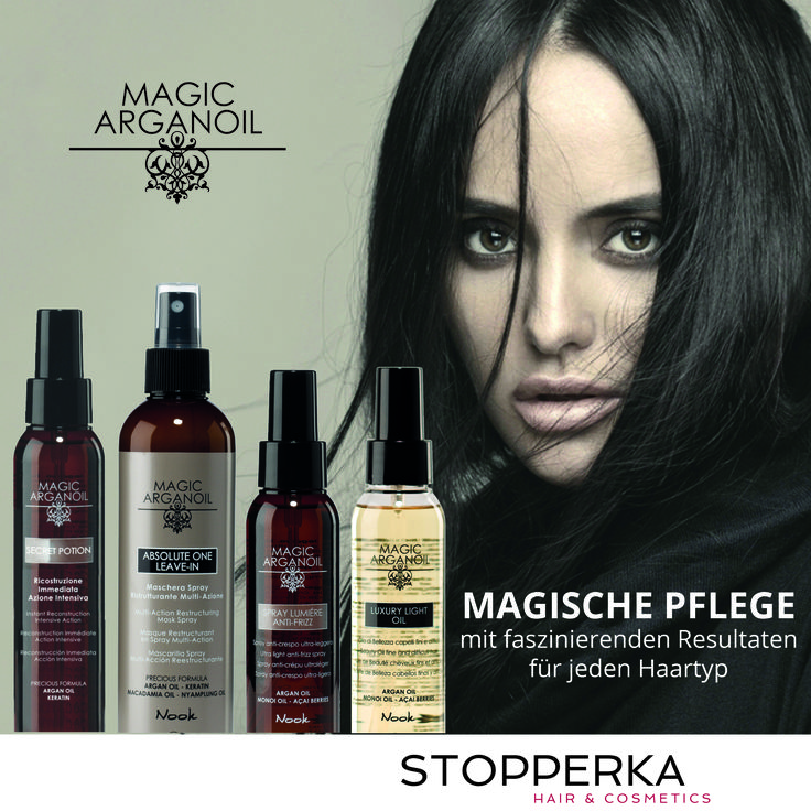 Die Magic Arganoil Pflege Serie von #NOOK aus #Italien gibt #Feuchtigkeit & seidigen #Glanz mit sofortigem Effekt, für jeden #Haartyp, auch für sehr feines #Haar. Alle Produkte sind ohne #Parabene, #SLS, #SELS - und auf #Nickel, #Chrom und #Kobalt geprüft, um eine extrem milde Pflege für #Kopfhaut und Haar zu garantieren. #Stopperka #Friseurbedarf #Haarkosmetik #salonsupply #Arganoil #Haarpflege #hair #cosmetics #Shampoo #Intensivkur #Haarmaske #hair #Haare #Friseur #hairdresser