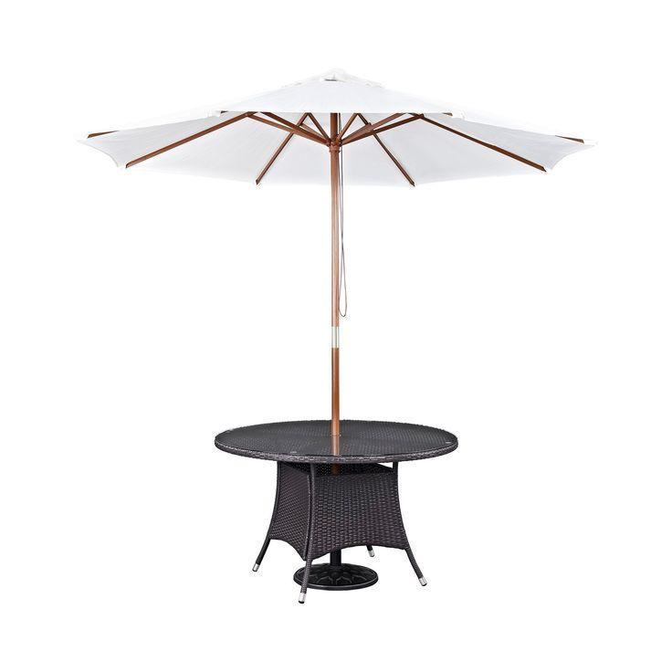 Convene 2pc Umbrella and Round Outdoor Patio Dining Set - Espresso/White - Modway