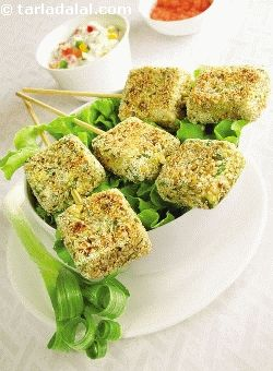 Seven grain tikki, seven different grains and paneer make this dish a delectable source of proteins. I've rolled the tikkis in sesame seeds, which apart from being a rich source of protein also gives the snack a nice crunchy texture! a tikki provides 4. 4 gm of proteins; hence 3 to 4 tikkis are enough to meet half of your child's daily requirement, thereby making his/her bones grow stronger.