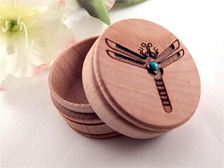Turned Wood Ring Box Dragonfly with Turquoise Cabochon Small Keepsake Storage Handcrafted Southwestern Home Decor