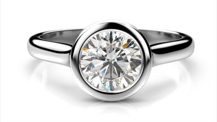 Zásnubný prsteň zo zlata YTA z bieleho zlata 14 karátové diamant okrúhly solitaire