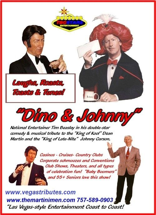 """JOHNNY CARSON TRIBUTE IMPERSONATOR MARQUEE PROMO  Dean & Johnny, """"The King of Kool and The King of Late-Nite!"""""""