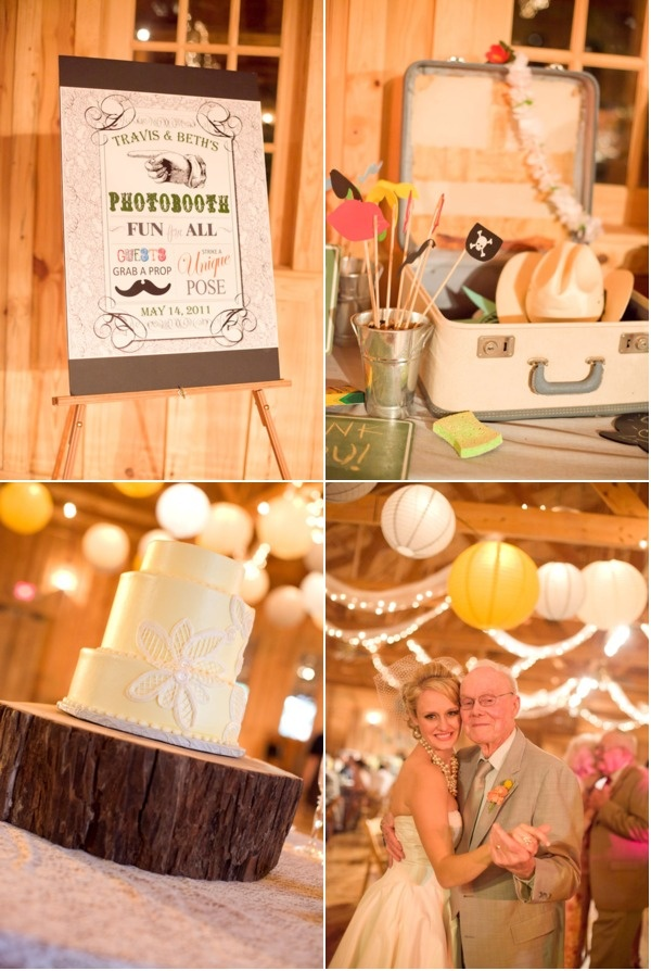 Vintage suitcases to hold photobooth props.