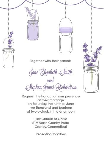 Lavender and Mason Jar Wedding Invitation  http://www.freetemplateideas.com/67-lovely-free-printable-wedding-invitations/