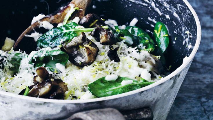 Risotto med med østershatte og spinat fra Almanak