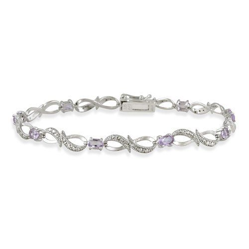 Sterling Silver Amethyst & Diamond Accent Swirl Infinity Bracelet SilverSpeck.com. $29.99. Save 54% Off!