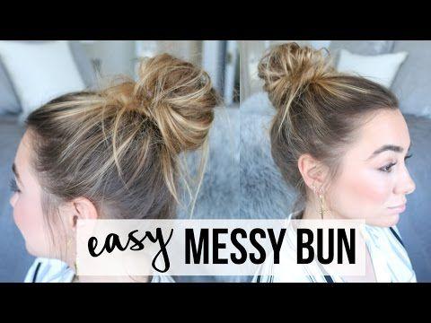 EASY MESSY BUN TUTORIAL   FINE, THIN HAIR - YouTube
