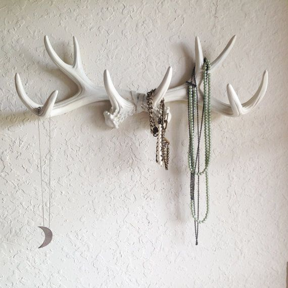ANY COLOR or WHITE Faux Antlers Wall Mount // Rustic door KINGFOUR