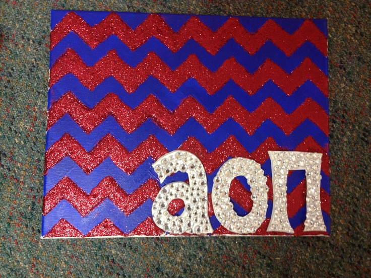 AOII Glitter Chevron Canvas