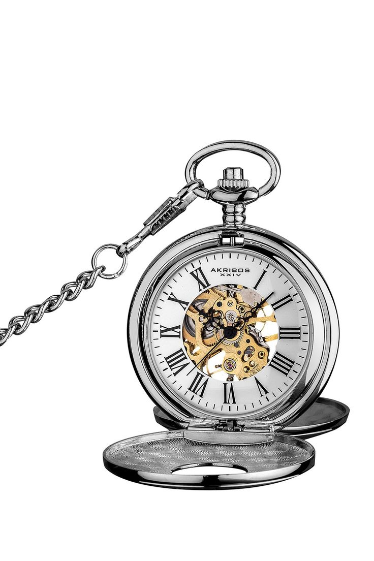 Men's Antique Skeleton Chain Pocket Watch