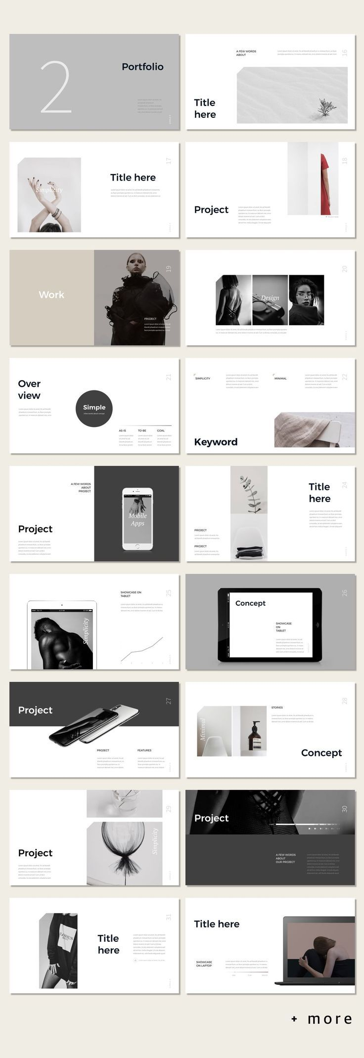Awesome Simple Portfolio Presentation Template #minimal #presentation #ppt #temp...