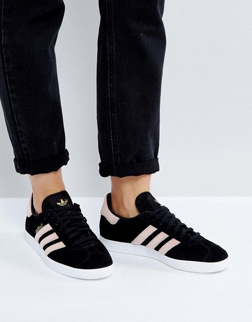 low priced c0c85 b960d adidas Originals Black Gazelle Sneakers With Velvet Stripes - velvet adidas  originals ! ! yes please