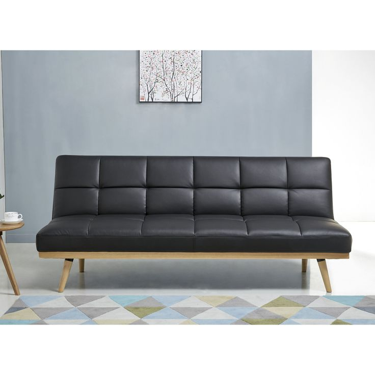 Abbyson Kenzie Mid Century Leather Sofa Bed