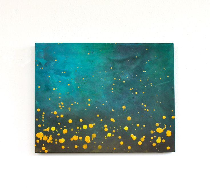 teal blue  turquoise aqua brown mustard yellow modern art mid century original acrylic painting on canvas. $85.00, via Etsy.
