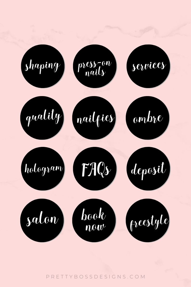 Nail Highlights Nail Artist Highlight Covers For Instagram Branding Digital Download Story Highlights Instagram Highlight Icons Nail Tech