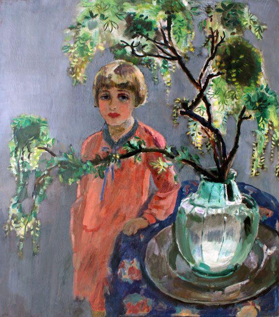 Jan Sluijters - Liesje naast een Coupiervaas met gouden regen (1930)