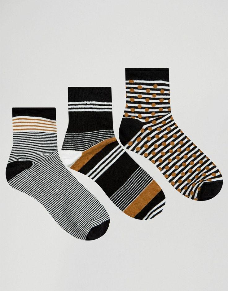 Image 1 ofOysho 3 Pack Striped Socks