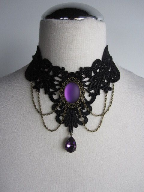 Last One Choker Necklace Lace Purple Victorian Bohemian