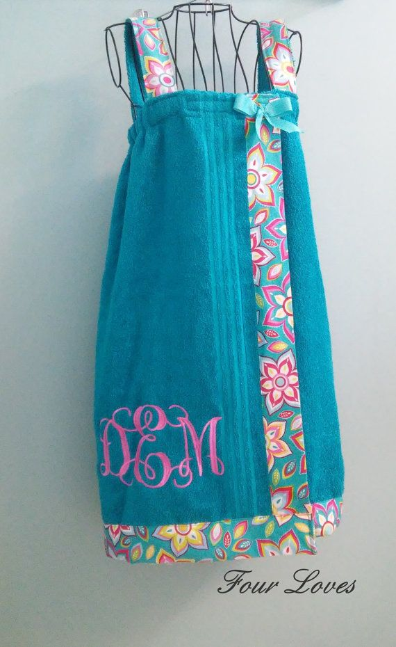 Monogrammed Adult Spa Wrap (with straps) size adult medium; teal color towel with #55 design and white letter monogram, $40