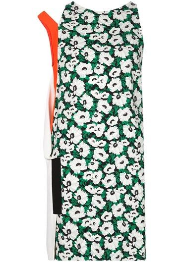 Black, white and green 'Odile' #dress from #StellaMcCartney featuring a round neck, a one shoulder #design, a #floral print and a panelled colour block design.  @stellamccartney http://bit.ly/1P0L2WR