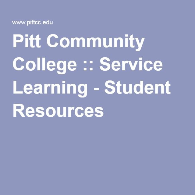 Pitt Community College :: Service Learning - Student Resources