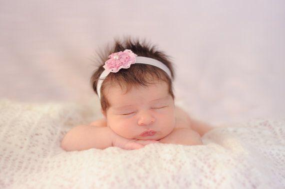 Baby Girl Headband Pink baby headband Newborn by LaCharDesigns, $8.20