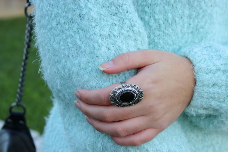 Fluffy mint jumper and black ring