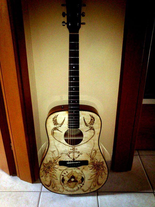 Woodburning Acoustic Guitar PyroArt