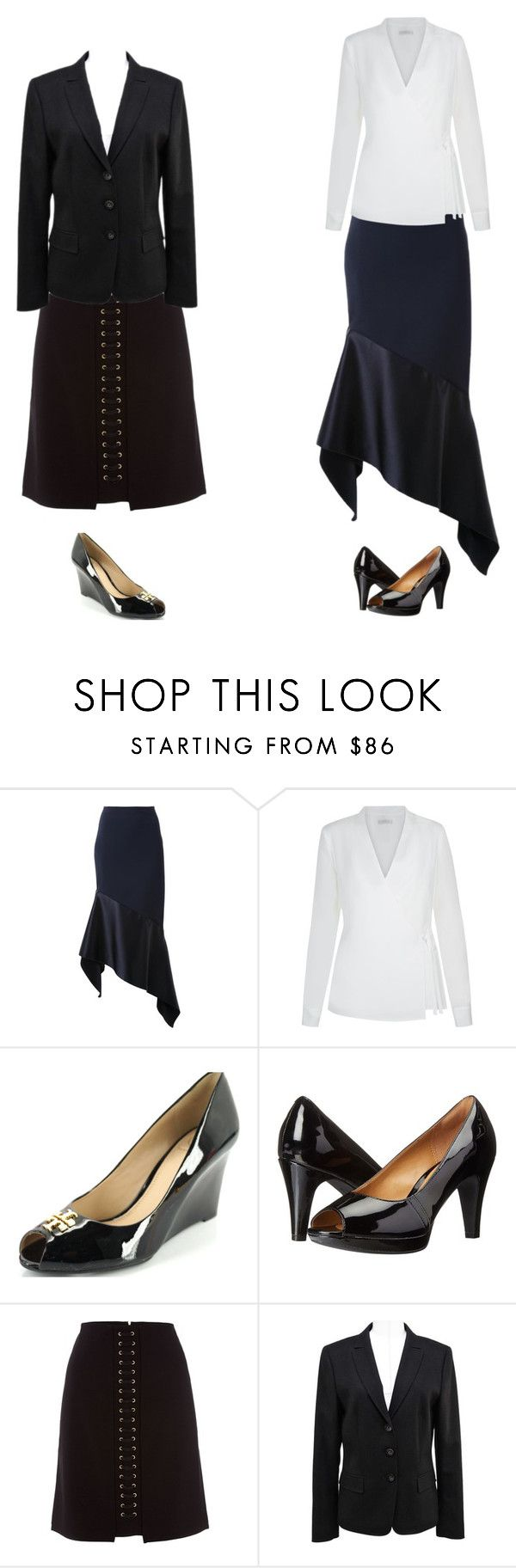 """""""Apple black and white"""" by mimi-briji on Polyvore featuring Dion Lee, Hobbs, Tory Burch, Clarks, Biba and ESCADA"""