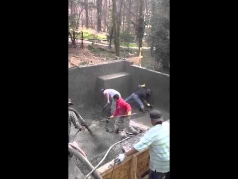 Concrete Shell Application - shooting the floor