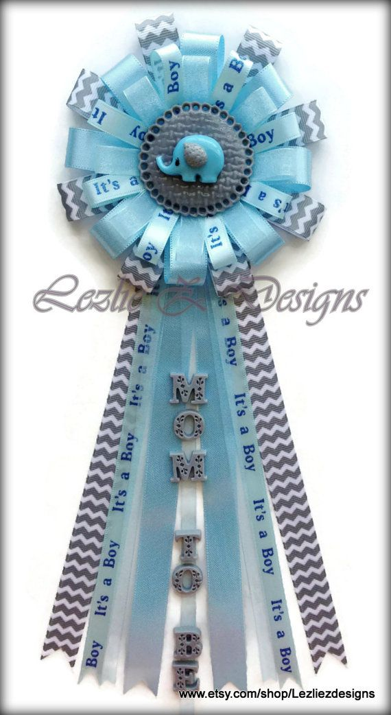 Baby Elephant Theme - Gray Chevron and Baby Blue - Baby Elephant Corsage - Baby Shower Mum Capia Favor Ribbon Pin Keepsake - Gray Lite Blue