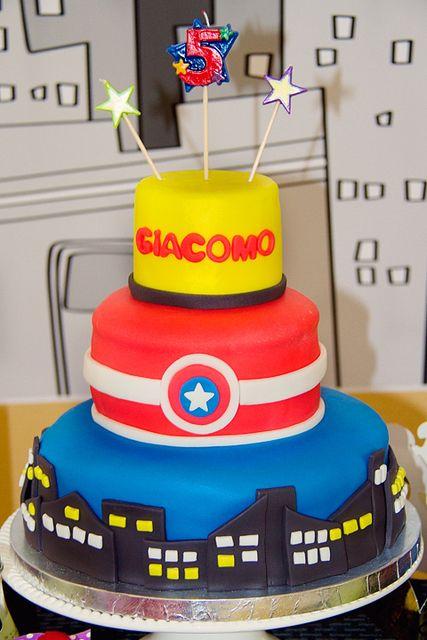 Cool cake at a  Superhero Party #superhero #partycake