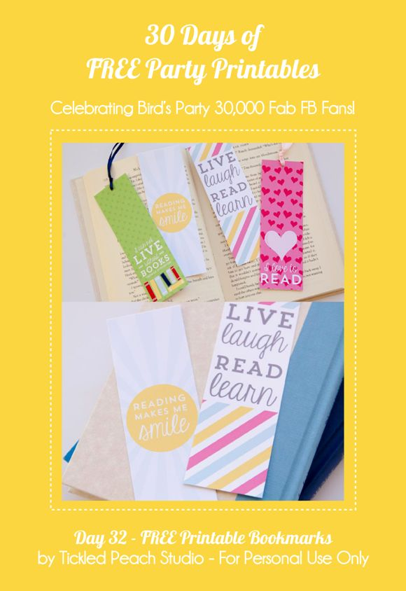 34 Days of FREE Party Printables: Day 32 -  Printable Bookmarks by Tickled Peach Studio by Birds Party