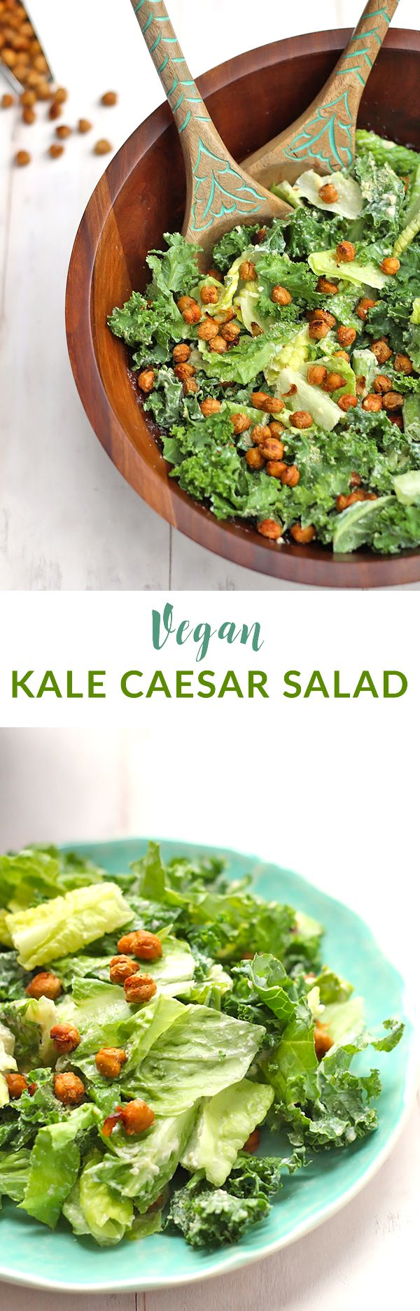 Creamy Kale Vegan Caesar Salad - fresh caesar salad with an AMAZING ...