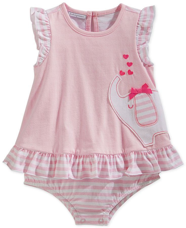 First Impressions Baby Girls Stripe Elephant Sunsuit