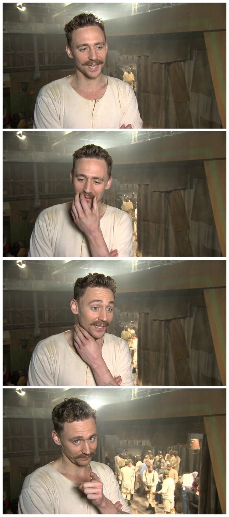 Tom Hiddleston... Only man that pull off only a mustache and still look hot. <-- That stache is ridiculous.