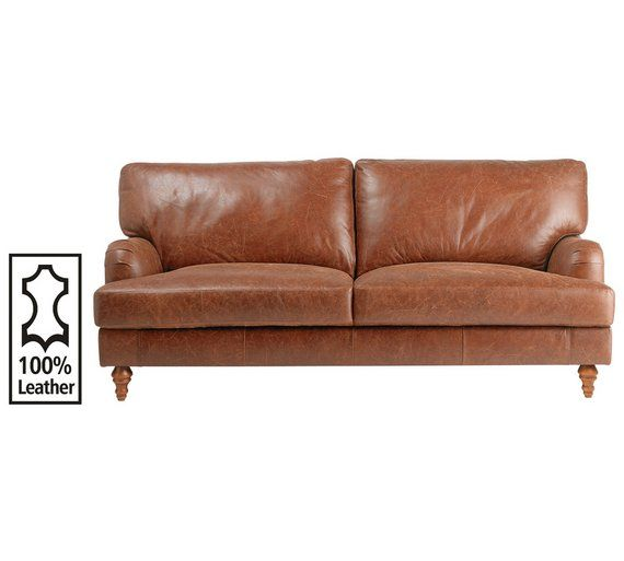 Buy Heart of House Livingston 3 Seater Leather Sofa - Tan at Argos.co.uk - Your Online Shop for Sofas, Living room furniture, Home and garden.