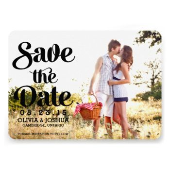 Customizable save the date announcement. Similar items are available. #wedding #save #the #date #engagement #photo #vintage #modern #retro #typography #script #hand #lettering #overlay #bride #groom #stylish #white #trendy #formal #unique #proposal #celebration #weddings #engaged #calligraphy #traditional #stripes #striped #pattern #mint #5x7 #nautical #fun #cute #romantic #chic #announcement #invitation