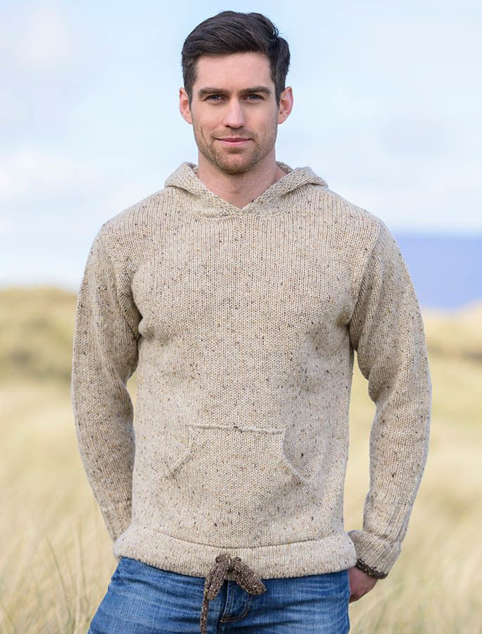 Mens Wool Hoodie With Pouch Pocket Men Casual Sweaters Men