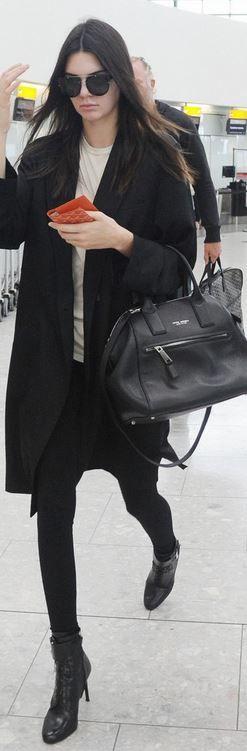 Kendall Jenner: Sunglasses – Dior  Wallet – Goyard  Purse – Marc Jacobs  Shoes – Prada