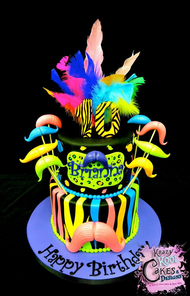 Best Pink Mustache Party Images On Pinterest Mustache Cake - Neon birthday party cakes