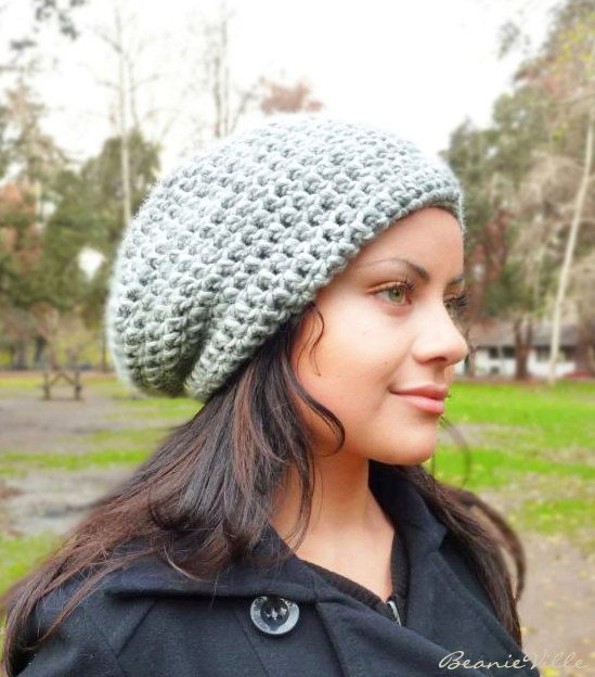 Slouchy beanie hat  PEARL GRAY  chunky  crochet  by BeanieVille, $18.00