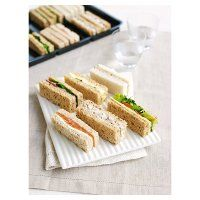 Finger sandwiches - for an elegant tea! Possible fillings are smoked salmon w/soft cheese; egg & cress; beef & horseradish; chicken & stuffing; tuna mayo & cucumber; cheddar & pickle | Waitrose