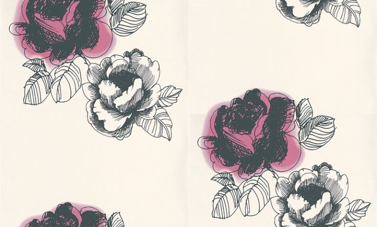 Daami (423013) - Brewers Wallpapers - This design features ink sketches of rose flowers in a large scale motif, drawn in black with a rich dusky pink colour on a fresh white background. Please request sample for true colour match. Paste the wall.