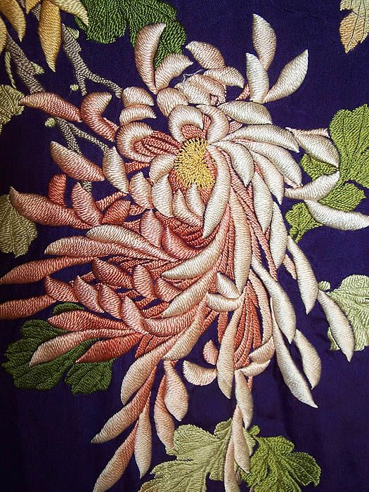 Antique Japanese Purple Silk Padded Satin Stitch Embroidery Chrysanthemum Kimono  Close up.
