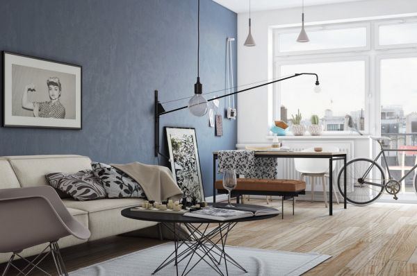 A hipsterfied apartment would be nothing if it weren't for an Eames-inspired chair and a bicycle. Look out, Park Slope.