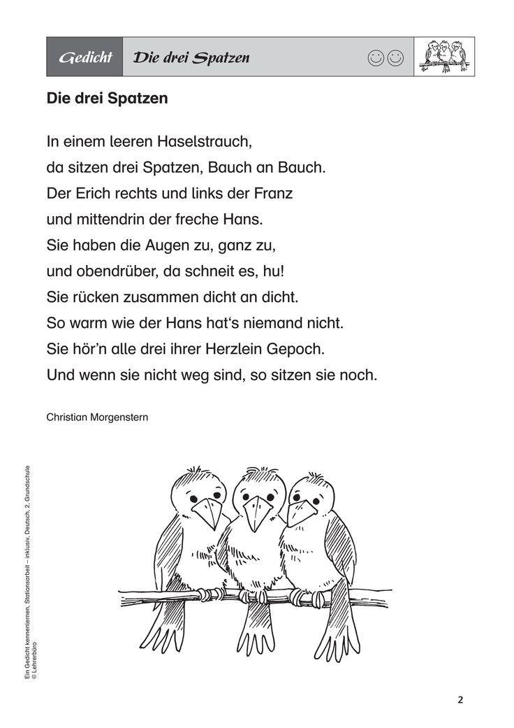 Bildergebnis Für Drei Spatzen Gedicht Gedicht Schule
